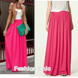 1031c73a69b Image is loading CelebStyle-Hot-Pink-Double-Layered-Chiffon-Full-Length-