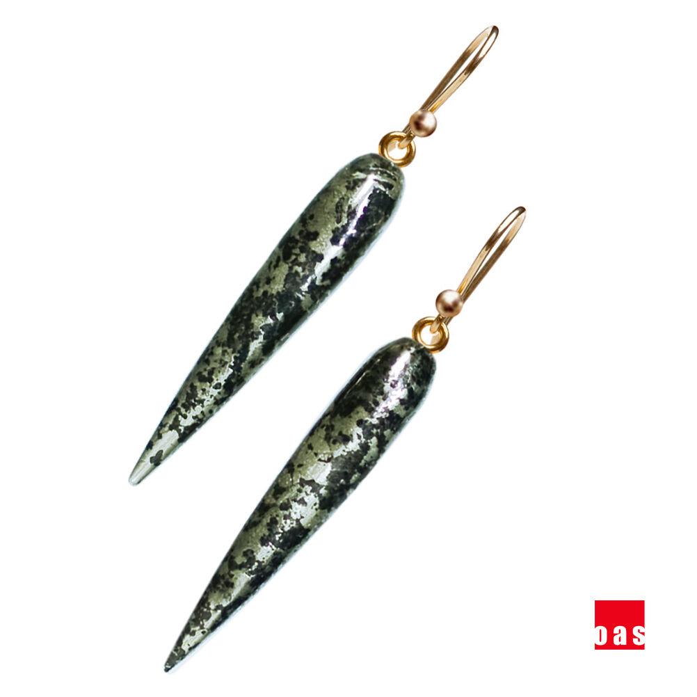 Solid 14k 18k gold Large Marble Pyrite aka Fool's gold Icicle Designer Earrings