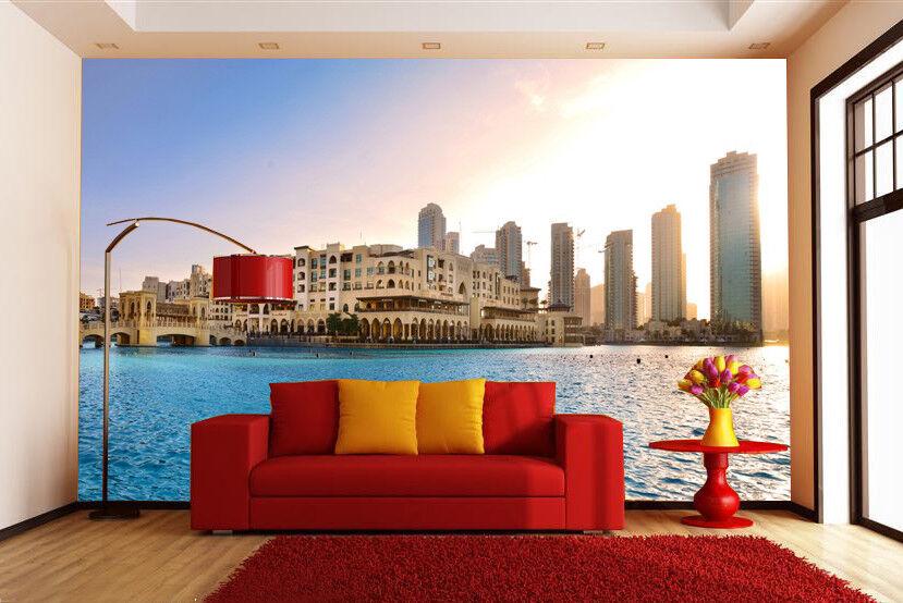 3D Sonne Ufergegend Gebäude 56 Tapete Tapeten Mauer Foto Familie Wandgemälde