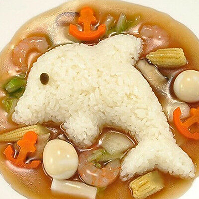 4 Pcs Egg Sushi Rice Ball Bento Mold Rabbit Dolphin Flower DIY Kitchen Tool