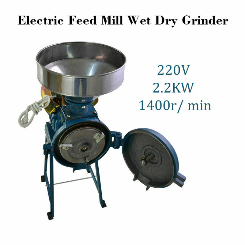 TOP  220V Electric Feed Flour Mill Cereals Grinder for Corn Grain Coffee Wheat