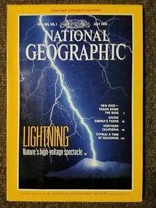 National-Geographic-Magazine-July-1993-Lightning-with-map-of-California