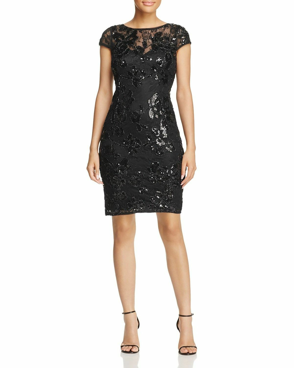 Adrianna Papell Sequined Lace Sheath Dress MSRP  Size 12 JN 794 NEW