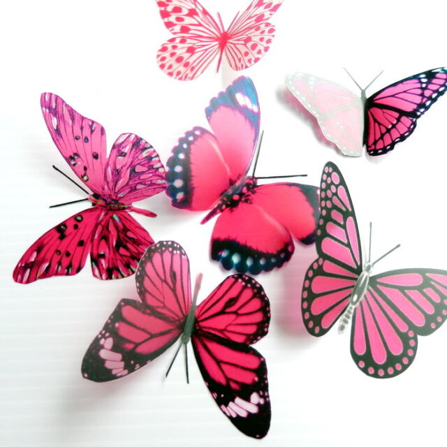 50 Pack Butterflies - Hot Pink - 5 to 6 cm - Cakes, Weddings, Crafts, Cards,