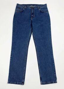 Maverick-clinton-jeans-uomo-usato-W38-L34-tg-52-blu-denim-boyfriend-slim-T5961