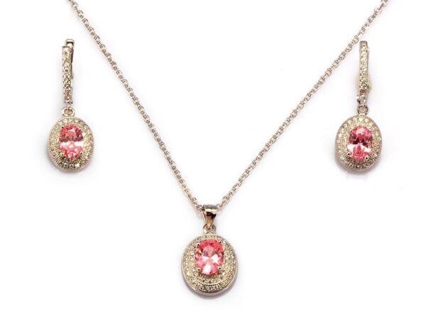 1920s Stil 925 Sterlingsilber Set Labor Erstellt Brilliant Rosa & Weiß Diamanten In Vielen Stilen