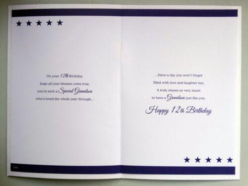 Petit-fils 12th 12 mot /& étoile design avec une belle verset HAPPY BIRTHDAY CARD