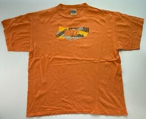 Nike-Mens-Graphic-T-Shirt-Orange-Yellow-Swoosh-Spell-Out-Crew-Neck-Tee-XL