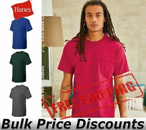 Hanes-Mens-Blank-Short-Sleeve-Tagless-T-Shirt-with-a-Pocket-5590-up-to-3XL