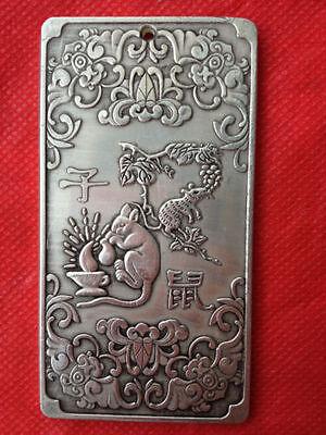 "Old Chinese""双猴挂印/"" tibet Silver Bullion thanka amulet 135g  amulet thangka"