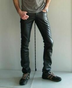 Men-039-s-Real-Leather-Trouser-Biker-Jeans-Pant-BLUF-Breeches-Lederhosen-Lederjeans