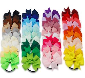 2x-Girl-Child-Bow-Ribbon-Grosgrain-School-Hair-Ponytail-Elastic-band-scrunchies