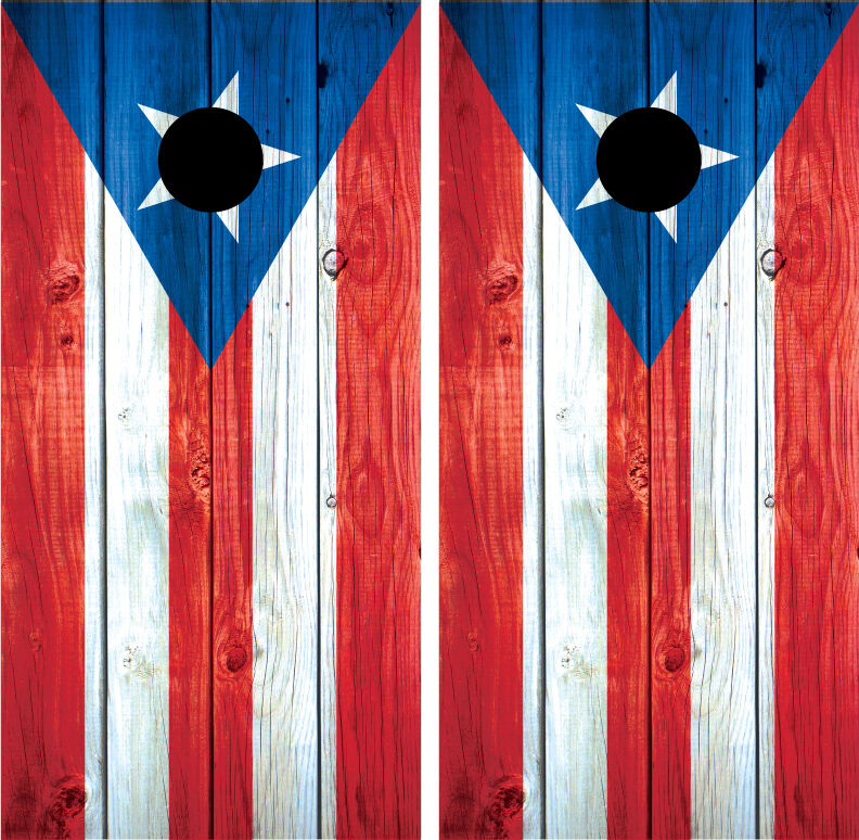 Puerto Rico Flag Distressed Wood Vintage Cornhole Board  Decal Wrap Wraps  official authorization