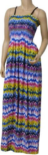 AZT-blue-cerise mix Robe maxi d/'été à lanières taille uk 10-18