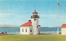 SEATTLE WASHINGTON ALKI POINT LIGHTHOUSE~U S COAST GUARD OPERATES POSTCARD 1960s