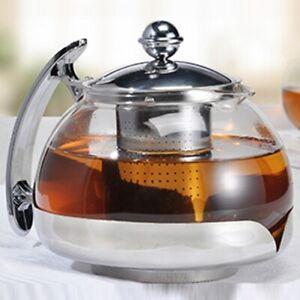 Teekanne-Tee-Kanne-1-2-Liter-aus-Glas-mit-Filtereinsatz-aus-Edelstahl-Tea-Pot