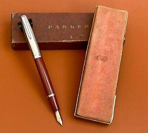 Vintage-Parker-VS-034-Brik-034-Red-Fountain-Pen-w-Box-AR3570