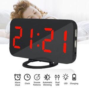 Dual-USB-Digital-LED-Clock-Snooze-Mirror-Alarm-Clock-Time-Night-Mode-Red-Large-R