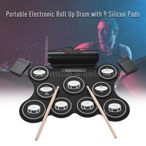Portable-Digital-Roll-Up-Drum-Kit-9-Silicon-Drum-Pads-USB-Powered-Delicate-gift