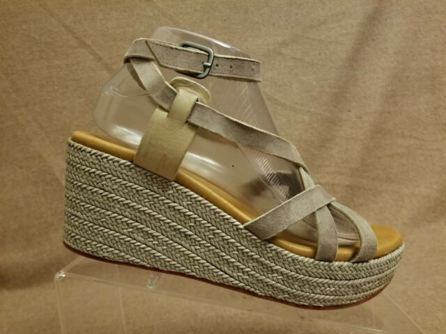 40564f245b6 Coclico Women Shoes Espadrille Platform Wedges Tan Ankle Strappy Sandals  Size 39