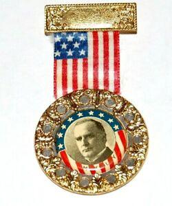 WILLIAM MCKINLEY BADGE RIBBON flag hanger political pin pinback button political