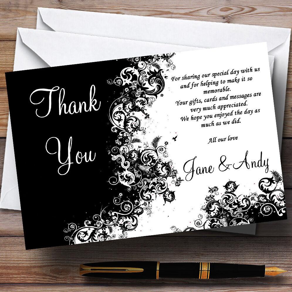 Negro blancoo remolinos Personalizado Boda Tarjetas De Agradecimiento