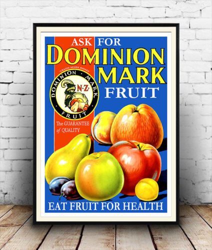 Dominion mark Vintage Fruit for Health Reproduction poster Wall art.