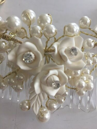 Pearl and Crystal Rhinestone Wedding Comb Hairpiece Ivory Rose
