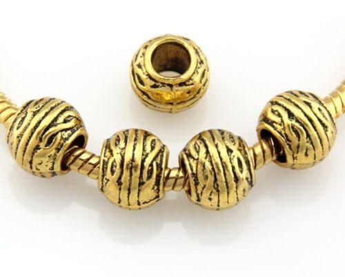 Wholesale Antique Plaqué Or Mix Beads Fit Charm Bracelet choisir quantité JH04