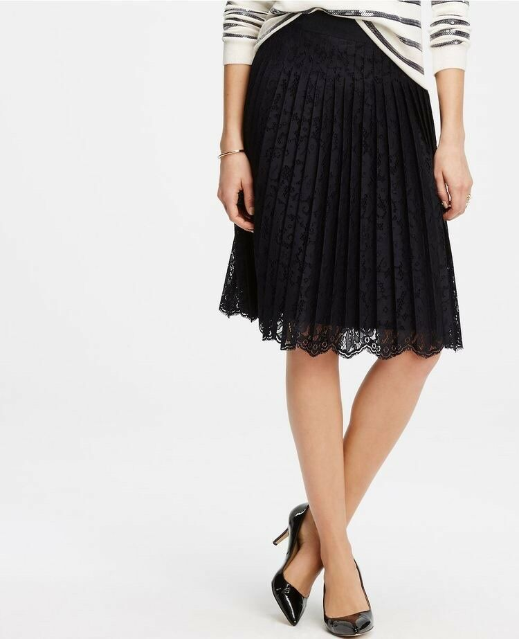 Ann Taylor Navy Lace Swing Full Midi Skirt, SzOP NWT  129