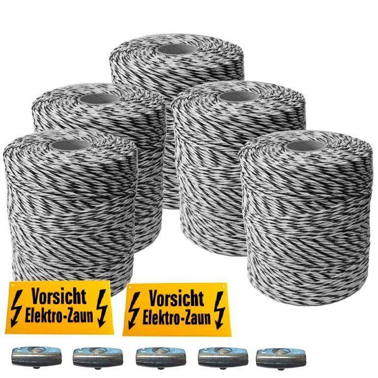 2000 m Weidezaunlitze ca 3 mm 6 starke starke starke 0.25 mm AL-Leiter für lange Zäune s-w 76cde5