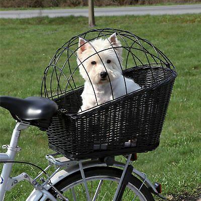 Wicker Rear Mounted Bike Bicycle Luxury Basket Pet Dog Carrier Safe Transport