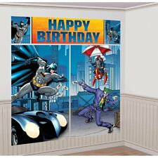 BATMAN WALL BANNER DECORATING KIT (5pc) ~ Happy Birthday Party Supplies