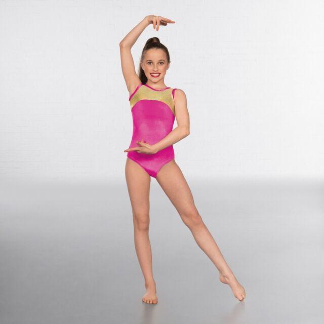 66888ec16348 1st Position Velour Gold Hologram Sleeveless Dance Gymnastics ...