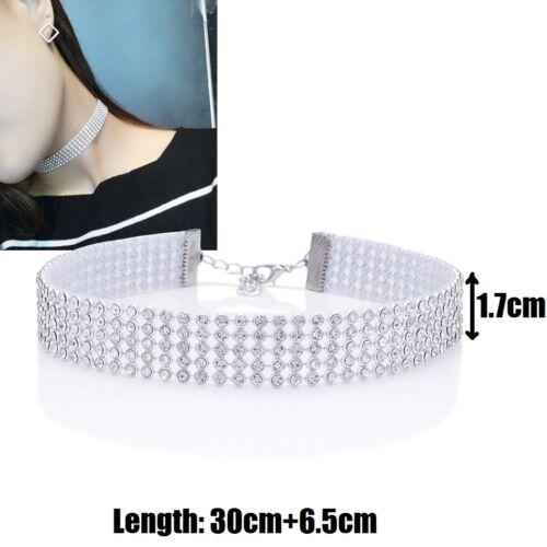 Fashion Full Diamond Rhinestone Choker Necklace Bracelet Set Wedding For Women