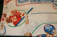 Vintage NFL Football TWIN Flat Bed Sheet Players Jets Saints Packers