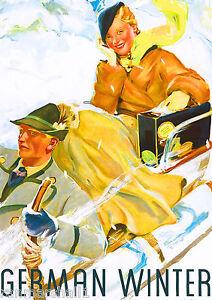 Germany German Winter Europe European Vintage Travel Advertisement Art Poster