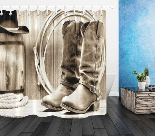 Retro Backdrop Bathroom Decor Waterproof Polyester Fabric Shower Curtain Hooks