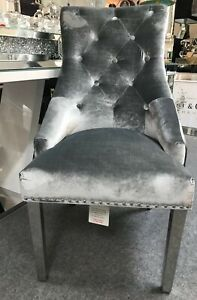 4x Silver Grey Crushed Velvet Dining Chair With Chrome Leg And Knocker Back Ebay