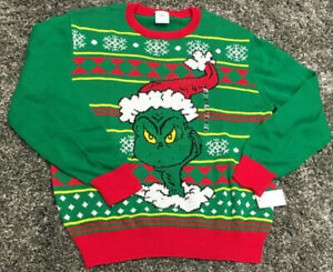 Ugly Long Men's Grinch New Sweater The Sleeved M Christmas wXqU7