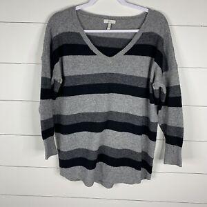 Joie-Womens-Black-Gray-Striped-Size-Medium-Wool-Yak-Blend-Long-Sleeve-Sweater