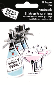 Bubbly Bottle /& Glass Pack Of 3 DIY Greeting Card Toppers Stick-on Decorations