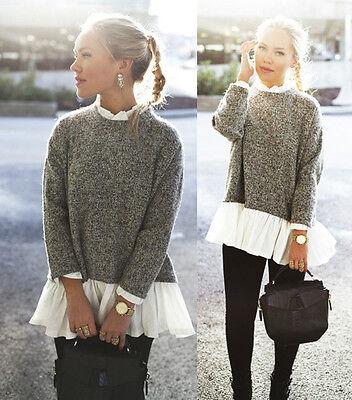 Women Long Sleeve Loose Cardigan Knit Sweater Jumper Outwear Coat Pullover Fall