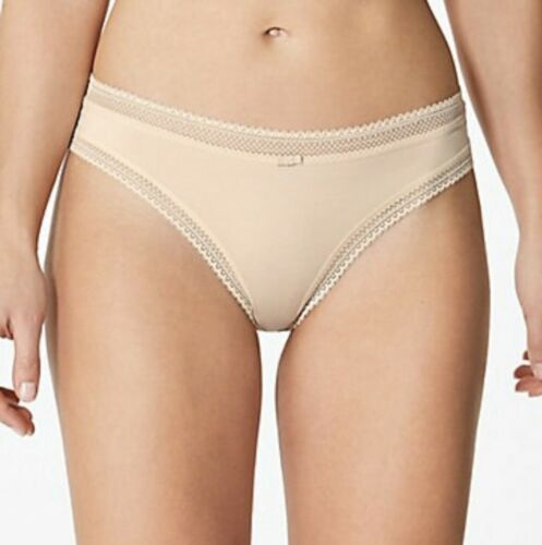 M/&S SIZE 14 22 NUDE LACE TRIM THONG G STRING KNICKERS LACE PANTIES