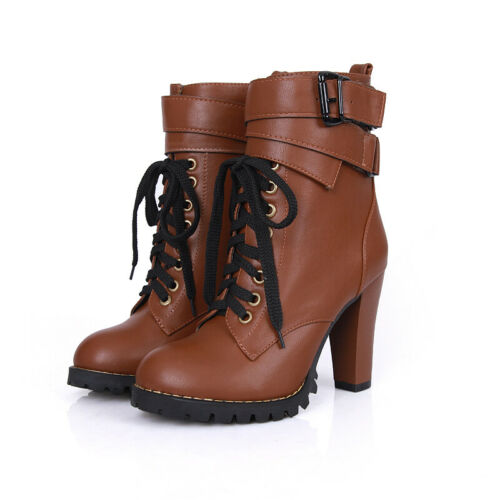 Punk Womens Leather Lace Up Ankle Boots High Block Heel Motorcycle Casual Shoes
