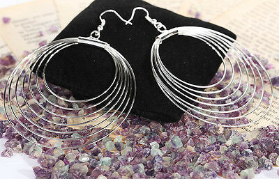 eccentric Hoop ring circle pendant Silver plated hook Earrings Bridal Jewelry