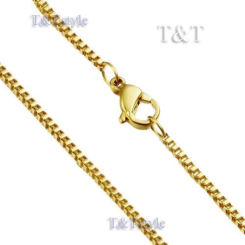 UNIQUE T/&T 1.5mm 14K Gold GP 316L Stainless Steel Box Chain C35