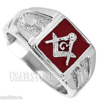 Mens Square Red Masonic Mason Rhodium Ep Ring