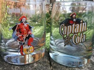 CAPTAIN MORGAN Plastic PITCHER & 2 Heavy Thick Bottom COLOR LOGO GLASS Lot COLA