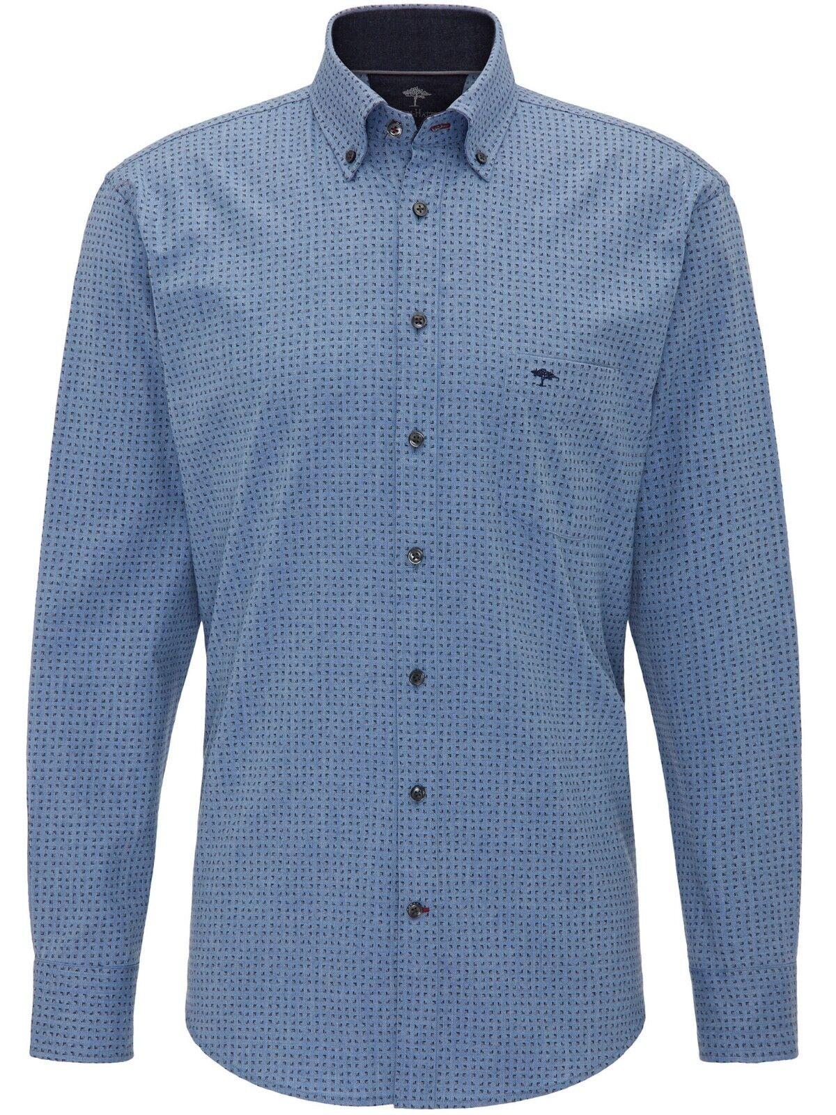 FYNCH-HATTON® Light Print Flannel Shirt Ice bluee - Medium SALE AW18